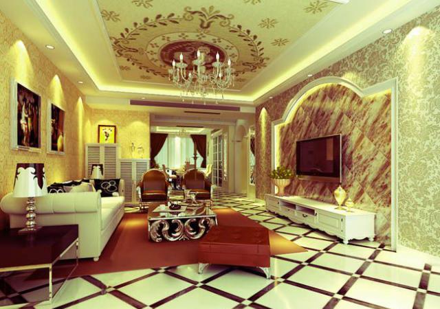 H1拼康乃馨地板-香槟咖啡电视墙